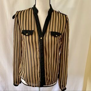 Paper Tee Brown Black Striped Formal Button Blouse